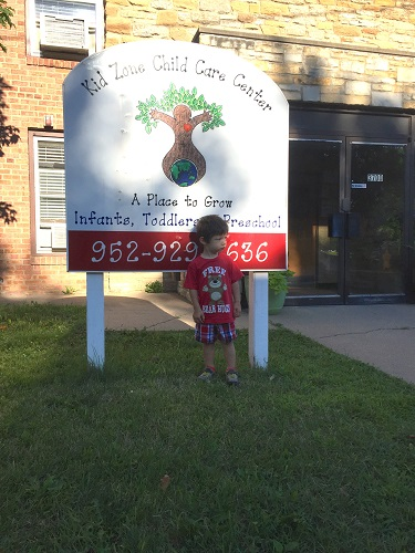 Henry on his 1st day at Kid Zone; clearly ready to conquer the world.